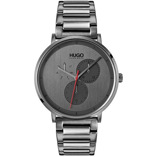 HUGO Men's #GUIDE Grey Plated Watch