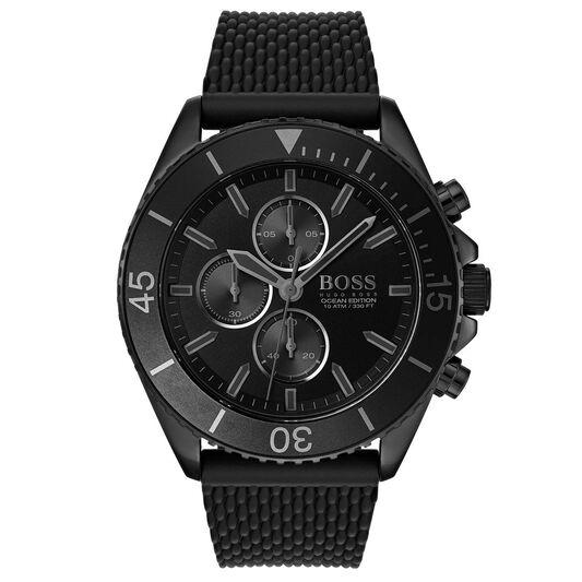 BOSS Men's Ocean Edition Black Silicone Watch