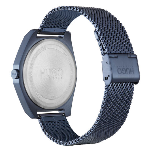 HUGO Men's #ACT Blue Plated Watch