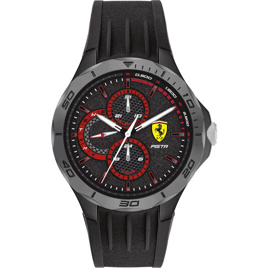 Scuderia Ferrari Men's Pista Black Silicone Watch