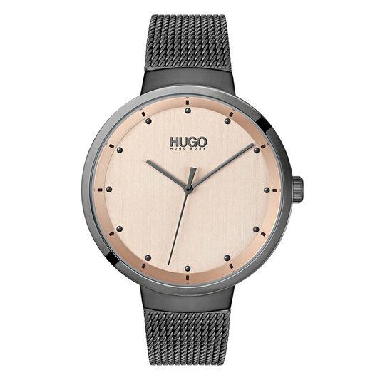 HUGO Ladies #GO Grey Plated Watch