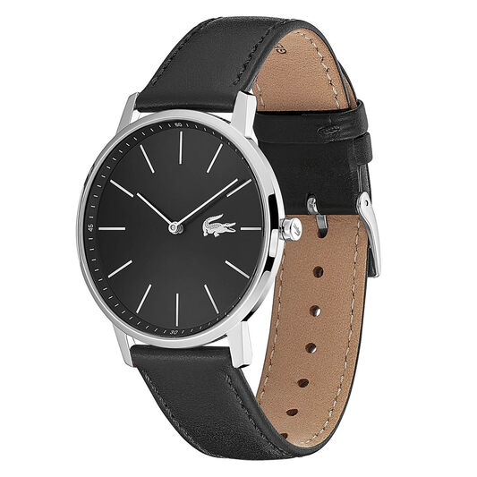 Lacoste Men's Moon Black Leather Watch