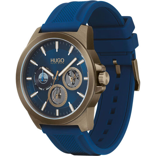 HUGO Men's #Twist Blue Silicone Watch