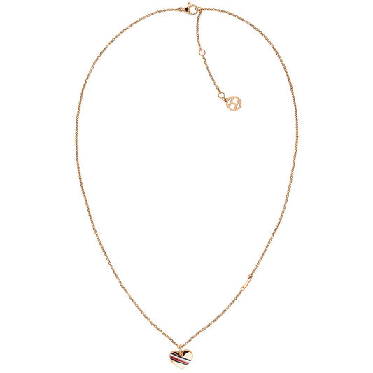 Tommy Hilfiger Ladies Rose Gold Heart Charm Necklace