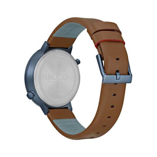 HUGO Men's #TRAVEL Brown Leather Watch