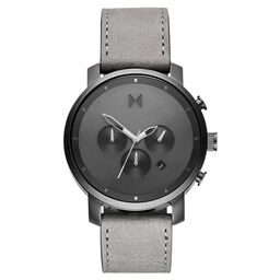 MVMT Men's Chrono Grey Leather Watch