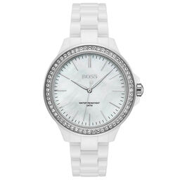 BOSS Ladies Victoria White Ceramic Watch