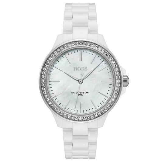 BOSS Ladies Victoria White Ceramic Watch