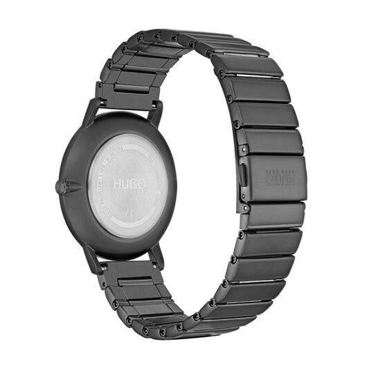 HUGO Men's #ECHO Grey Plated Watch