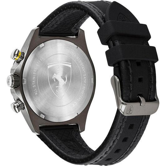 Scuderia Ferrari Men's Pilota Evo Black Leather & Black Silicone Watch
