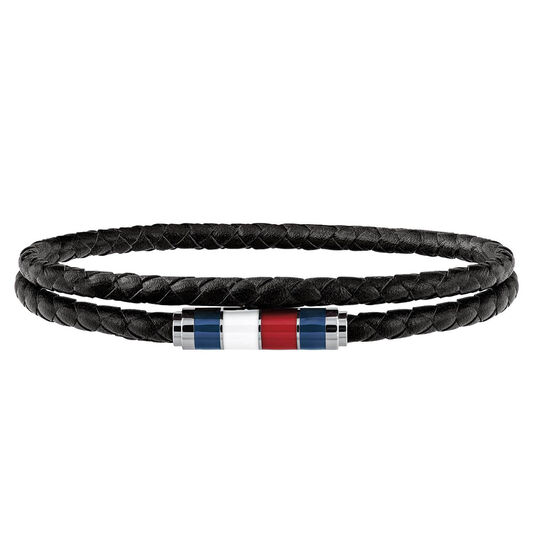 Tommy Hilfiger Men's Black Double Wrap Bracelet