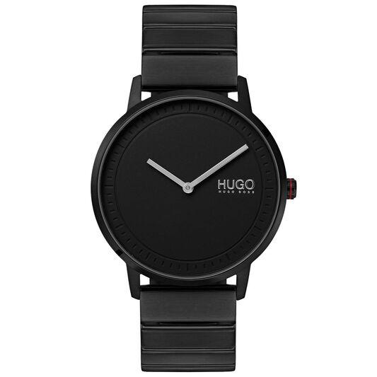 HUGO Men's #ECHO Black Plated Watch