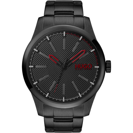 HUGO Men's #Invent Black Plated Watch