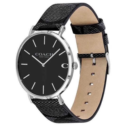 Coach Men's Charles Black Calfskin Watch