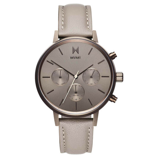 MVMT Ladies Nova Taupe Leather Watch