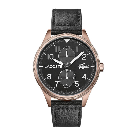 Lacoste Men's Continental Black Leather Watch