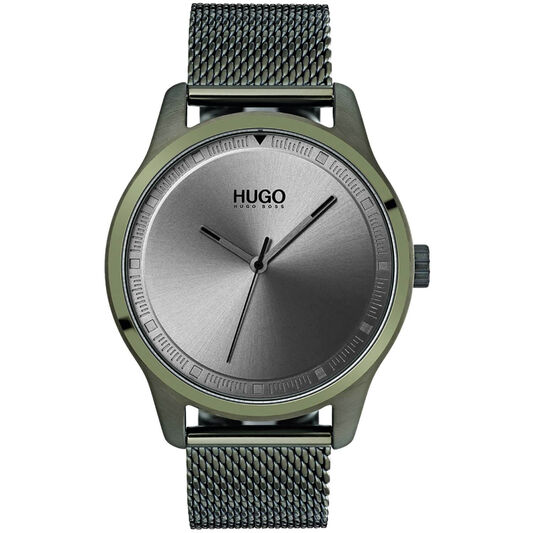HUGO Men's #MOVE Green Plated Watch