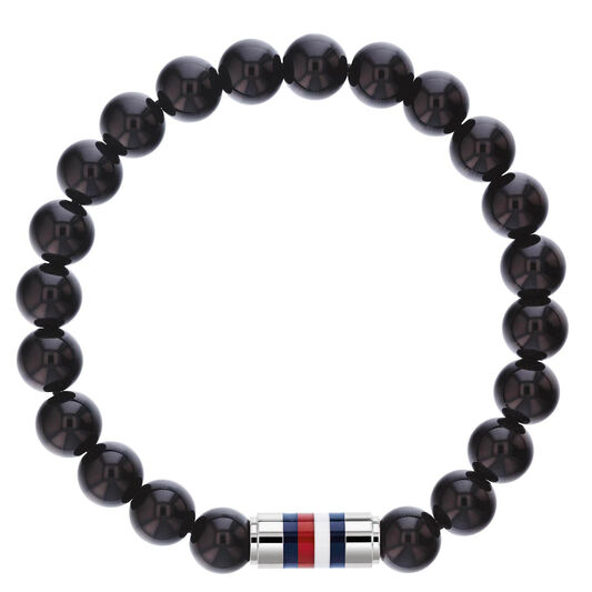 Tommy Hilfiger Men's Black Onyx Bead Bracelet
