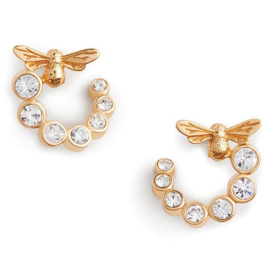 Bejewelled Lucky Bee Swirl Hoop Earrings Gold