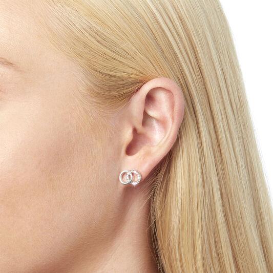 Bejewelled Interlink Earrings Silver