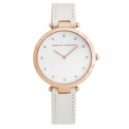 Rebecca Minkoff Ladies Nina White Leather Watch