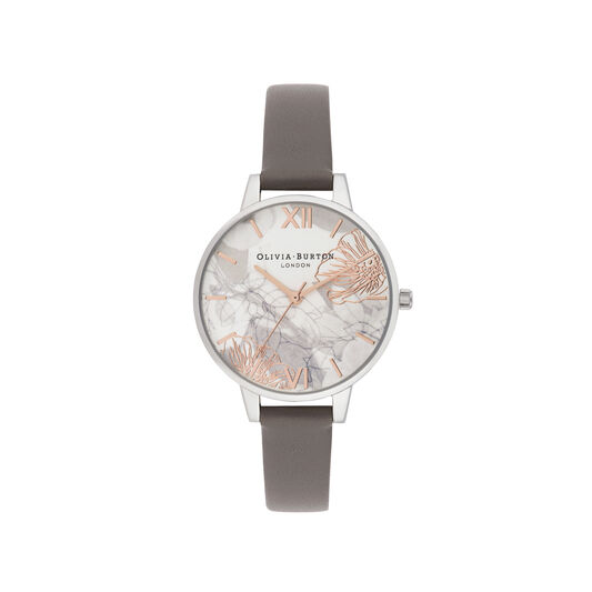 Abstract Florals Grey & Silver Watch