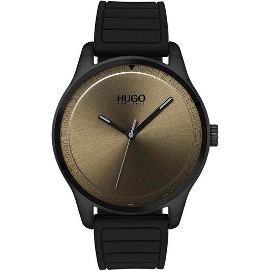 HUGO Men's #MOVE Black Silicone Watch