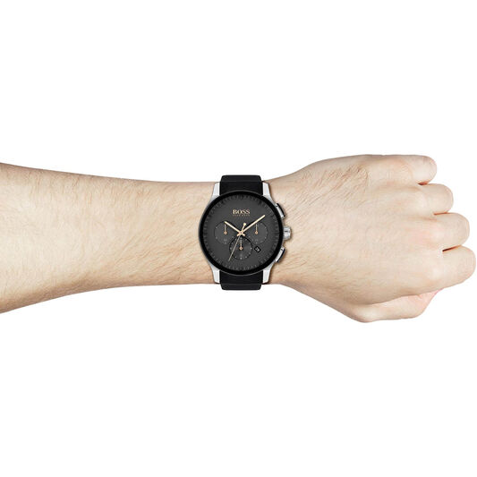 BOSS Men's Peak Black Silicone Watch