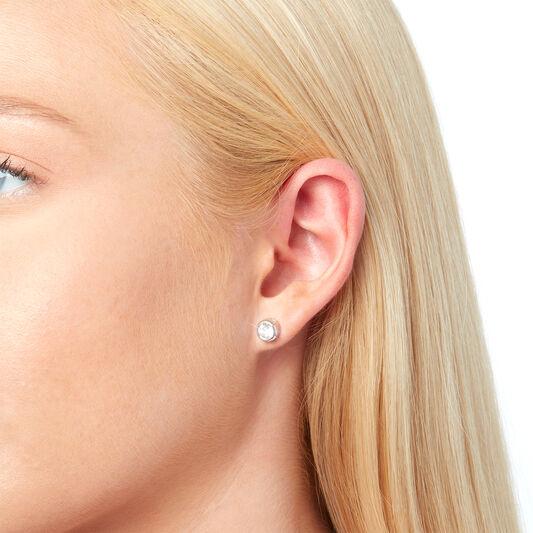 Round Stud Earring Rhodium