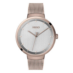 HUGO Ladies #GO Carnation Gold Plated Watch