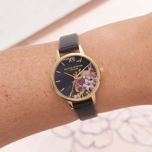 Marble Floral Black & Gold Watch