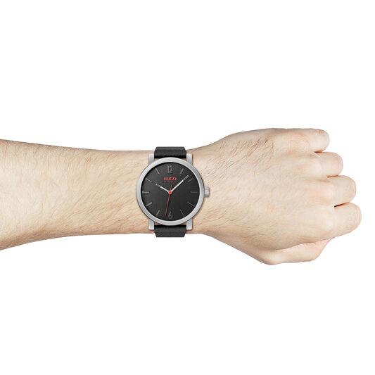 HUGO Men's #RASE Black Leather Watch