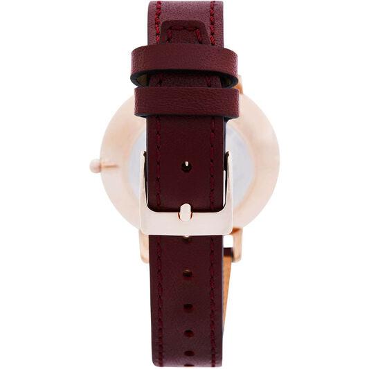 Rebecca Minkoff Ladies Major Bordeaux Leather Watch