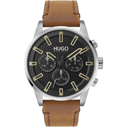 HUGO Men's #Seek Brown Leather Watch