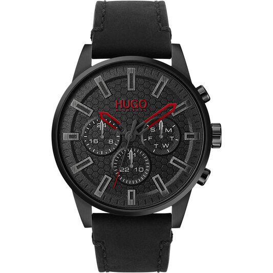 HUGO Men's #Seek Black Leather Watch