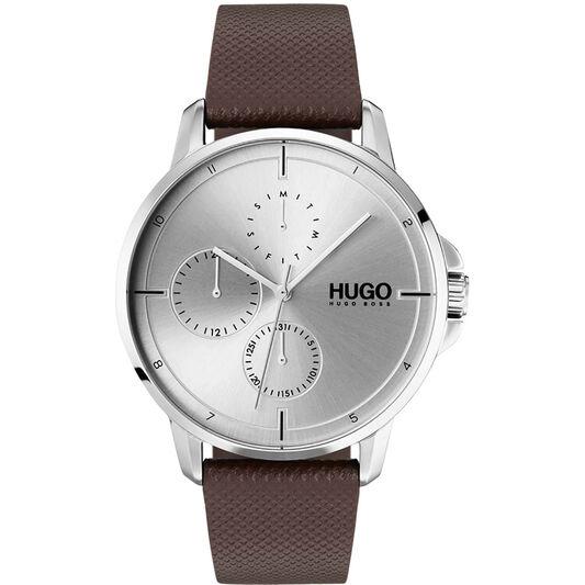 HUGO Men's #FOCUS Brown Leather Watch