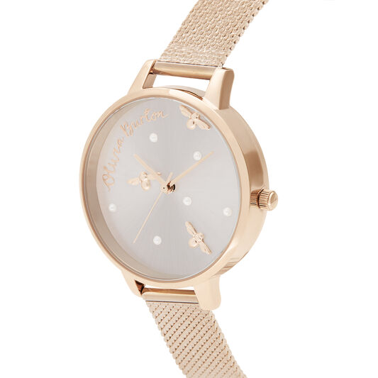 Pearly Queen Pearl Detail Rose Gold Mesh