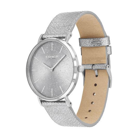 Coach Ladies Perry Metallic Silver Calfskin Watch