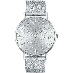 Coach Ladies Perry Metallic Silver Calfskin Watch